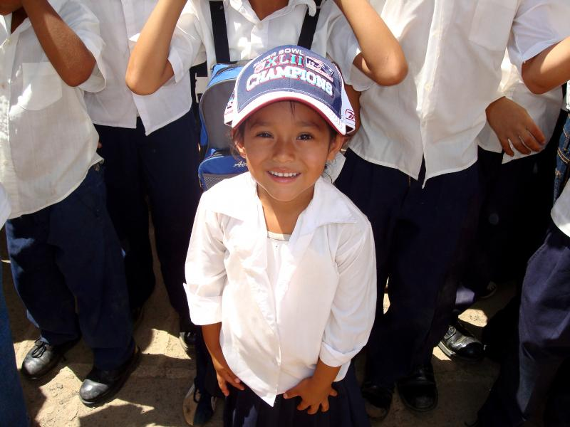 World Vision distributed shirts and gear from Super Bowl XLII, which incorrectly stated that the New England Patriots had won, to different schools in Nicaragua in March 2008.