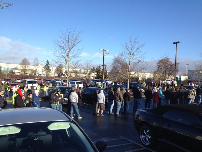 Boeing machinists in Everett waited two and half hours in line to cast their vote on the contract extension on Friday.