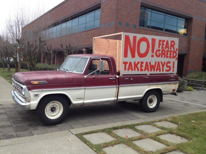 A truck outside the Boeing union rally on Thursday night.