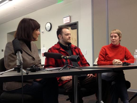 Suzan Del Bene (left) held a round table discussion on unemployment benefits, January 2, 2014, at the WorkSource Affiliate Office at North Seattle Community College.