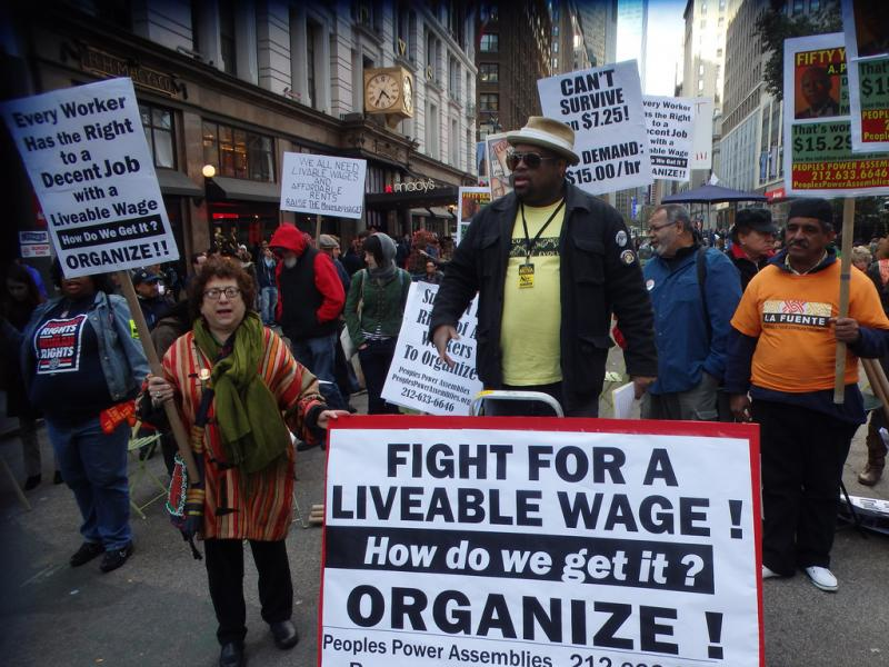 The minimum wage debate has spurred demonstrations in cities beyond Seattle, like this one in New York.