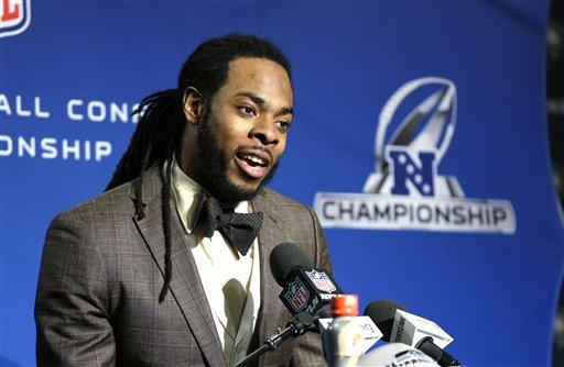 Richard Sherman, Seattle Seahawks cornerback, speaks at a news conference after Seattle beat the San Francisco 49ers for the NFC Championship on Sunday.