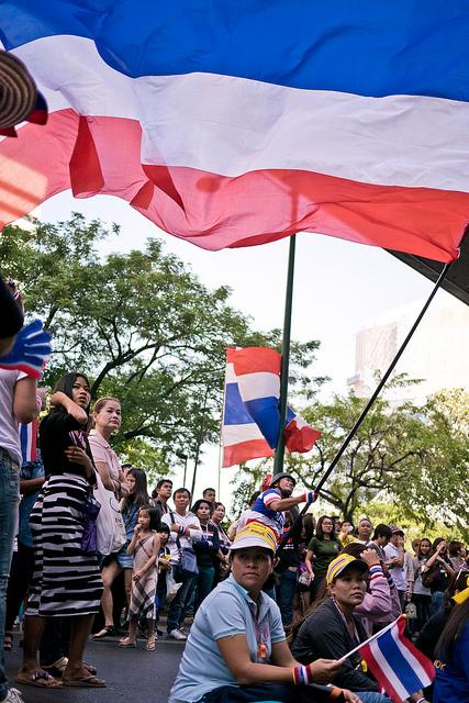 Thousands of protesters against Thai Prime Minister Yingluck Shinawatra filled the streets of Bangkok.