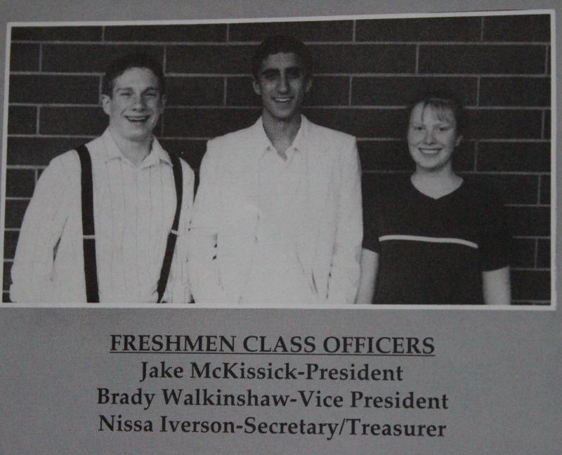 Nooksack Valley High School yearbook photo of Brady Walkinshaw and his friend Jacob McKissick as freshman class officers