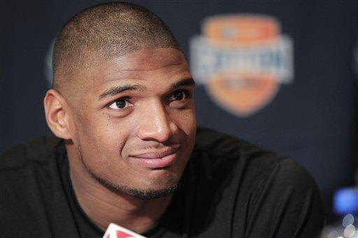Missouri senior defensive lineman Michael Sam speaks to the media during an NCAA college football news conference Jan. 1, 2014, in Irving, Texas.