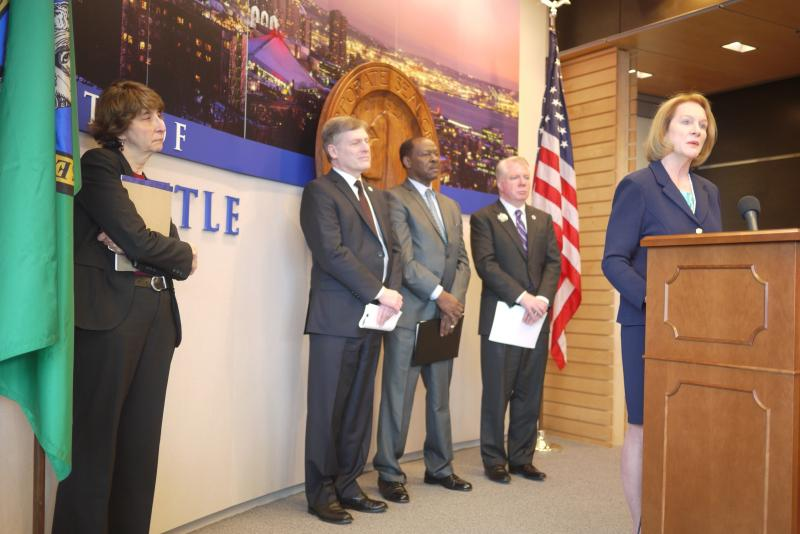U.S. Attorney Jenny Durkan speaks at a press conference about Seattle Police reforms.