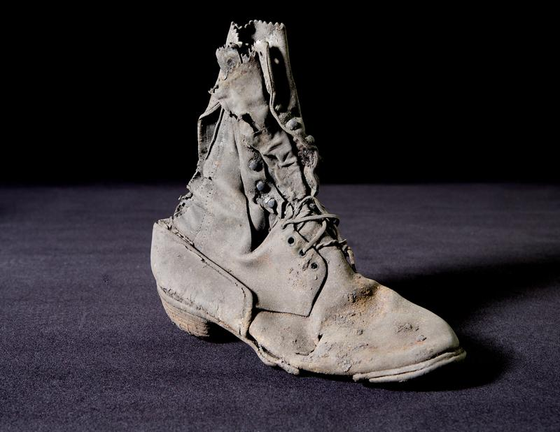 This shoe was among 40 men's, women's and children's shoes found during an archaeological excavation on Pine Street.