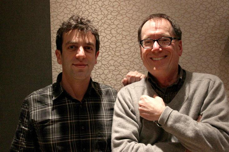 B.J. Novak (left) stopped by the KUOW studios to speak with Ross Reynolds on Tuesday, February 18, 2014.