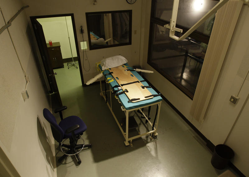 In this Nov. 20, 2008, file photo, the execution chamber at the Washington State Penitentiary is shown with the witness gallery behind glass at right, in Walla Walla, Wash.
