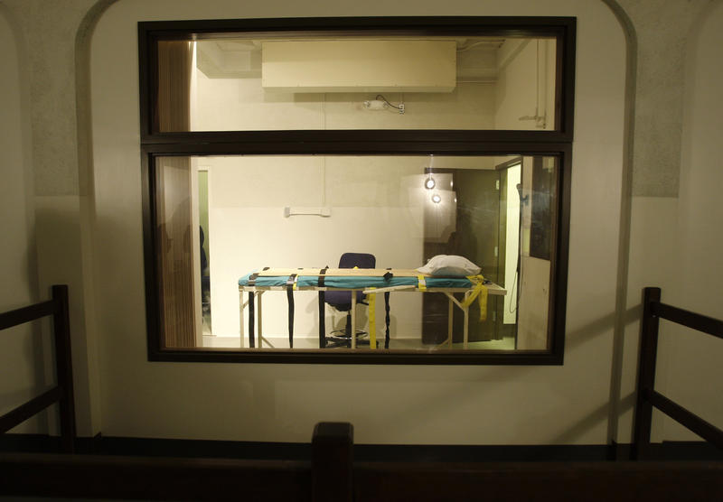 In this Nov. 20, 2008, file photo, the execution chamber at the Washington State Penitentiary is shown as viewed from the witness gallery, in Walla Walla, Wash.