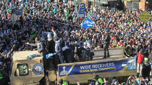 An estimated 700,000 Seahawks fans gathered for the Super Bowl parade on Wednesday.