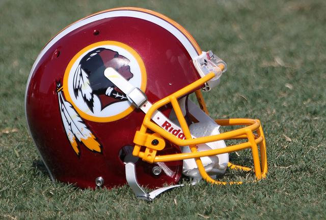 A Washington Redskins helmet.
