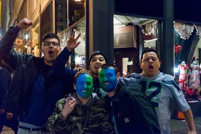 Seahawks fans celebrated in Seattle after the Super Bowl victory on Sunday.
