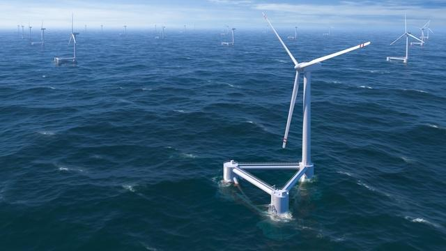 An illustration of floating offshore wind turbines.