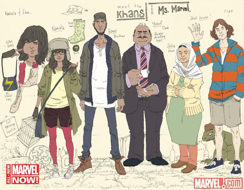 "Ms. Marvel designs by Adrian Alphona. Ms. Marvel, described by writer G. Willow Wilson as ""kind of a hipster,"" is the second from the left."