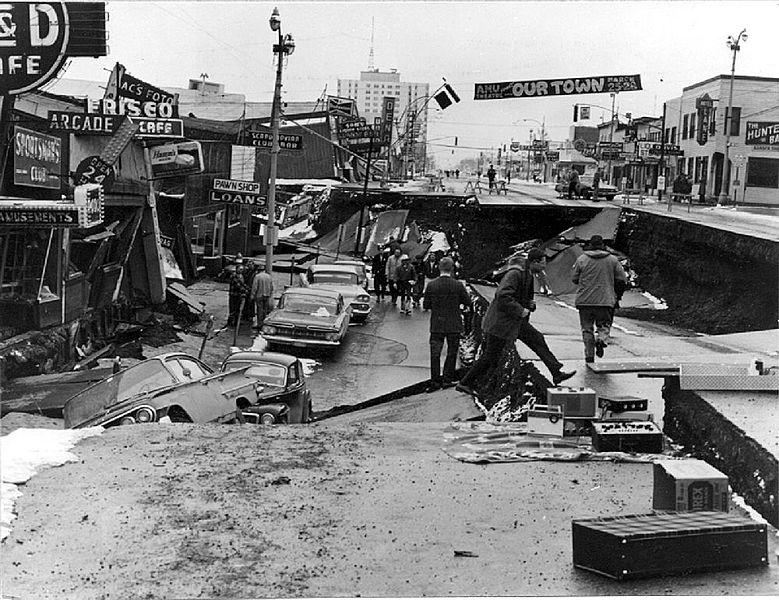Alaska Earthquake March 27, 1964. Collapse of Fourth Avenue near C Street in Anchorage due to a landslide caused by the earthquake.