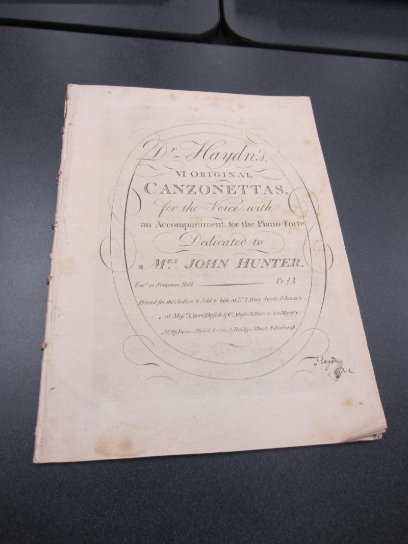Songs by Franz Joseph Haydn from the William Crawford III Rare Music Collection, University of Washington.