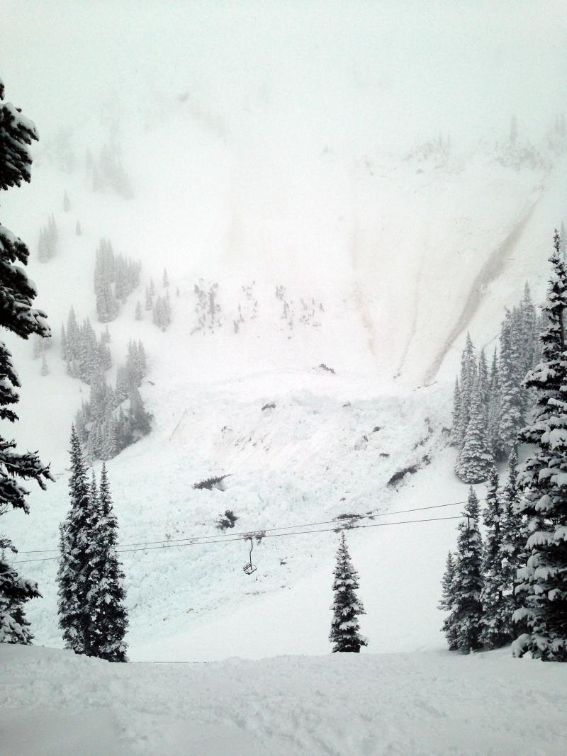 Avalanche debris formed piles up to 30 feet deep at Washington's Crystal Mountain Resort Monday afternoon.