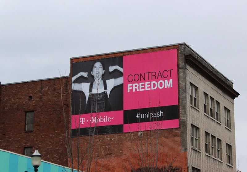 Big advertisement signs like this one outside the KUOW studios can be found throughout Seattle.