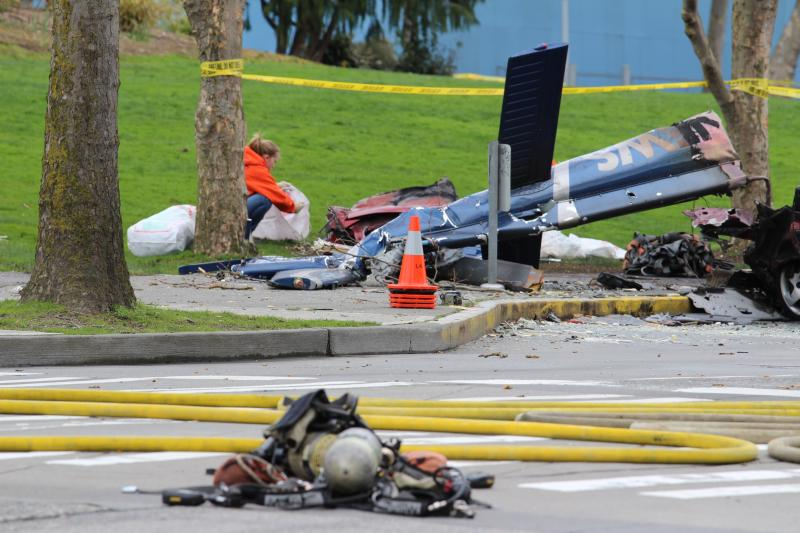 The tail of the helicopter was the only recognizable portion of the aircraft after the crash and subsequent fire.