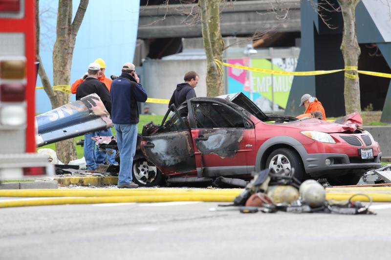 Several cars were damaged in the crash.