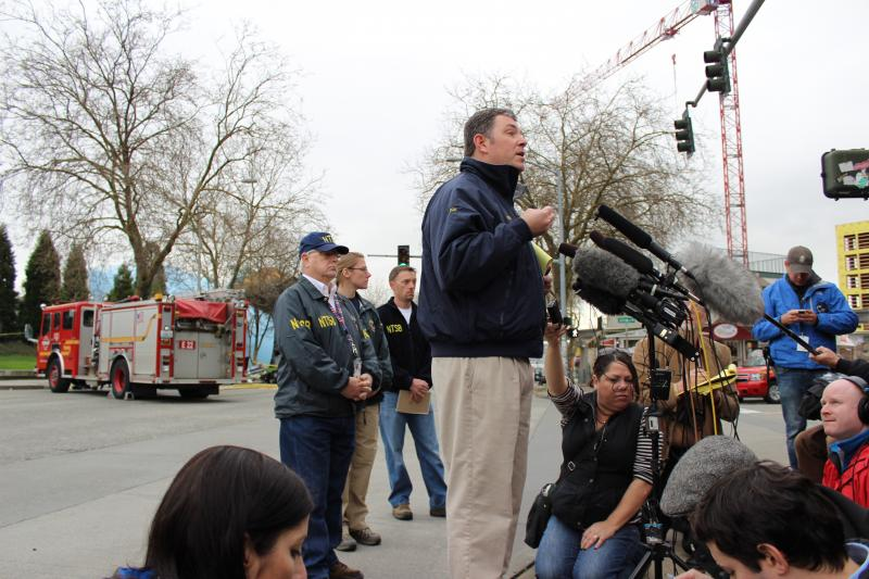 Dennis Hogenson, NTSB dep. regional chief of the Western Pacific Region, addresses reporters Tuesday afternoon.