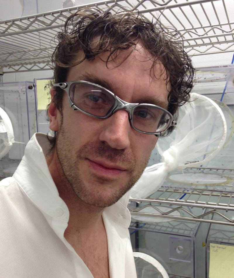 Pablos Holman is an inventor and futurist at Intellectual Ventures. Behind him are boxes of mosquitoes destined to be targets for the laser mosquito zapper.