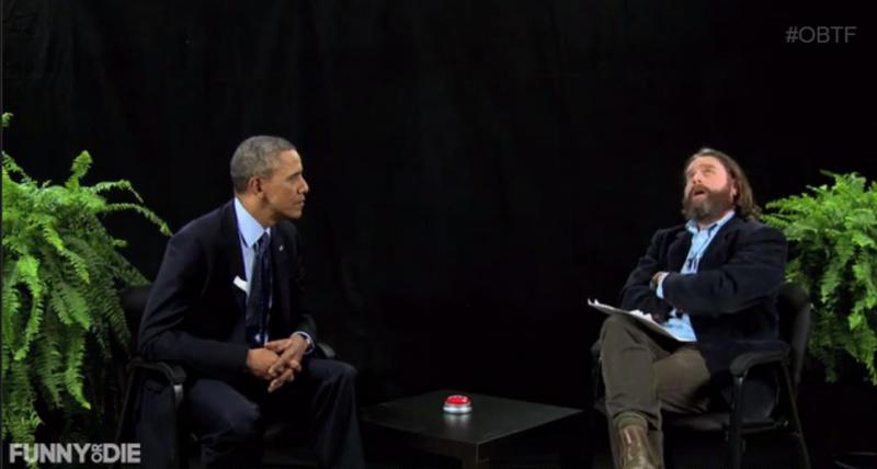 "A screenshot of the interview on ""Between Two Ferns."""