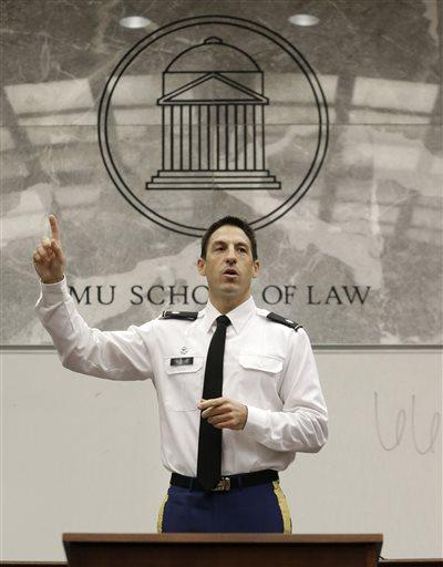 Military prosecutor U.S. Army Lt. Col. Jay Morse speaks to a law school class in November 2013. Morse has been accused of sexual assault from an incident in 2011.