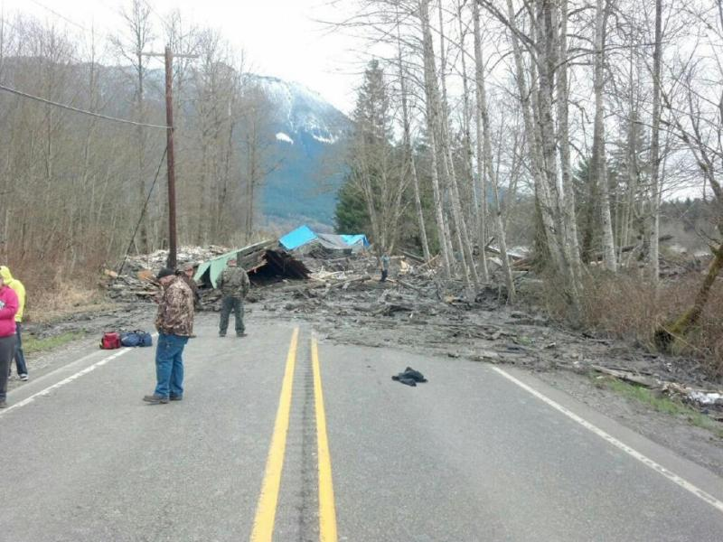 This photo provided by the Washington State Patrol shows the aftermath of a mudslide near Oso, Washington, on Saturday morning.
