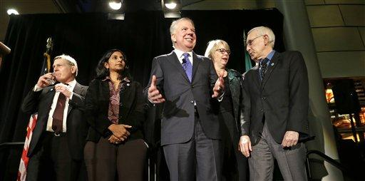 Mayor Ed Murray with members of the Seattle City Council shortly after last fall's election.