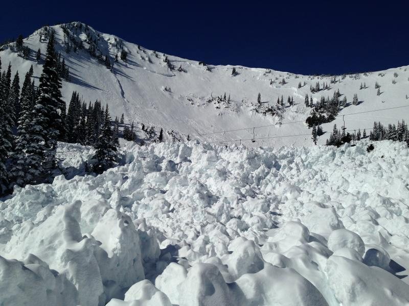 The remains of a slab avalanche at Crystal Mountain.