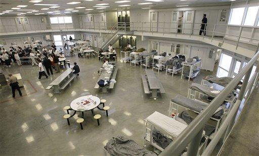 "A file picture from Oct. 17, 2008, shows the ""B"" cell and bunk unit of the Northwest Detention Center in Tacoma, Wash."
