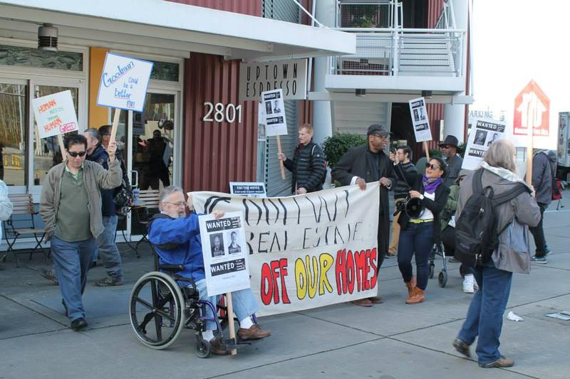The Theodora Rescue Committee and Lockhaven Tenants Union picketed at the Goodman Real Estate headquarters on Tuesday.