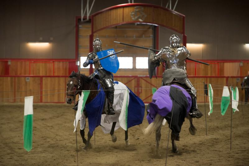 Dylan Bertollo (left), riding his horse, Connal, loses a jousting point to Chuck Davenport and his horse, Strider, as the Seattle Knights perform on April 12, 2014, at Rhodes River Ranch in Oso.