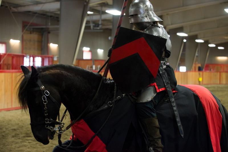A member of the Seattle Knights troupe performs on April 12, 2014, at Rhodes River Ranch in Oso.