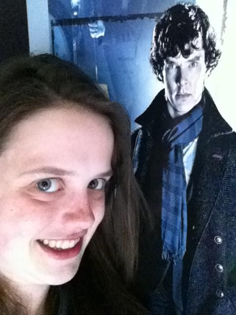 Madeline Ewbank with a poster of actor Benedict Cumberbatch.