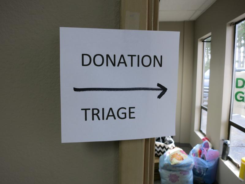 A donation triage site has been set up to manage the flow of goods for Oso relief.