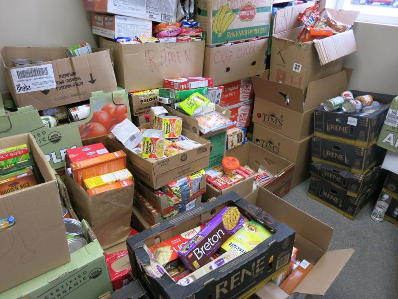 Food and other goods are stored for Oso relief.