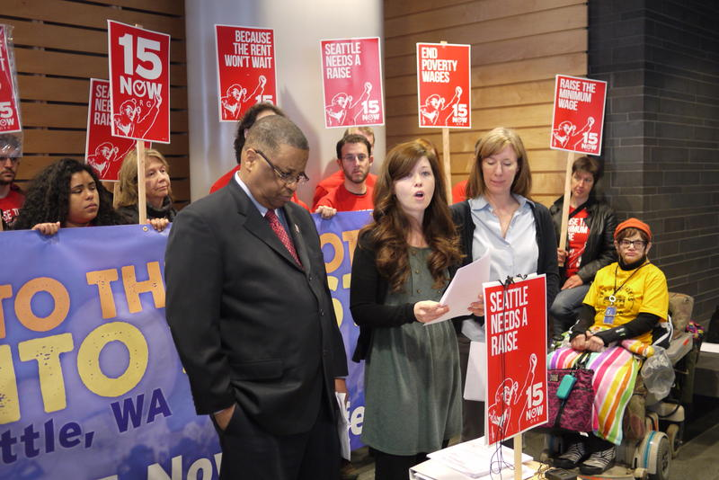 King County Council Member Larry Gossett and Vote 15 campaign manager Jess Spear at the launch of 15Now's charter amendment in early April.