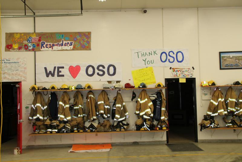 Messages of support hang inside the Oso Fire Department.
