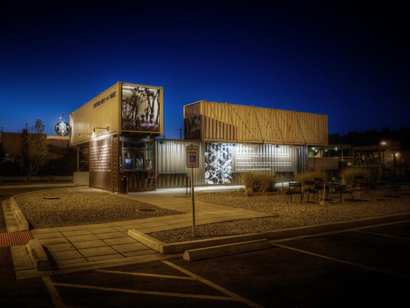 Starbucks has been rolling out drive-through, walk-up locations made out of recycled shipping containers. This location is in Tukwila, Washington.