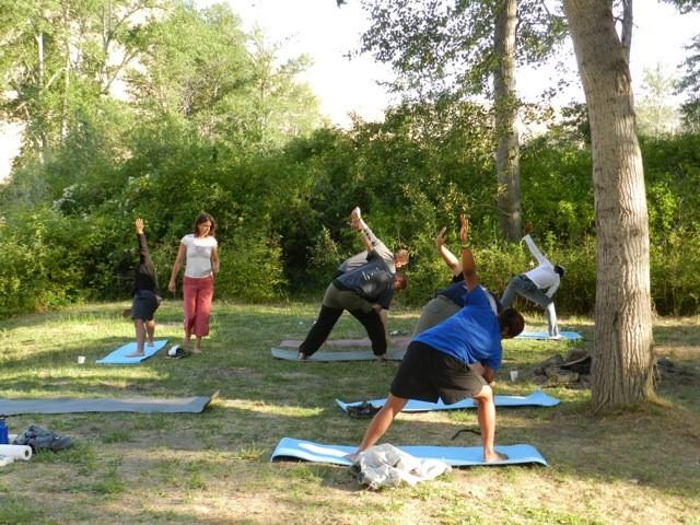Soldiers doing yoga while on a Rivers of Recovery trip.