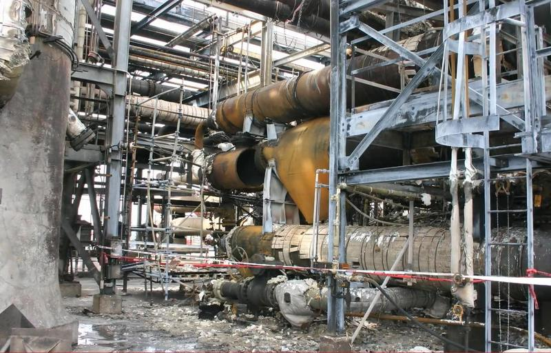 A ruptured heat exchanger at the Tesoro-Anacortes refinery in 2010.