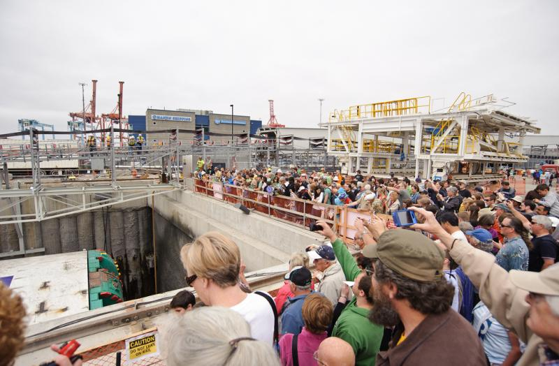 Crowds gather at the launch site of Bertha, the state Route 99 tunnel machine.