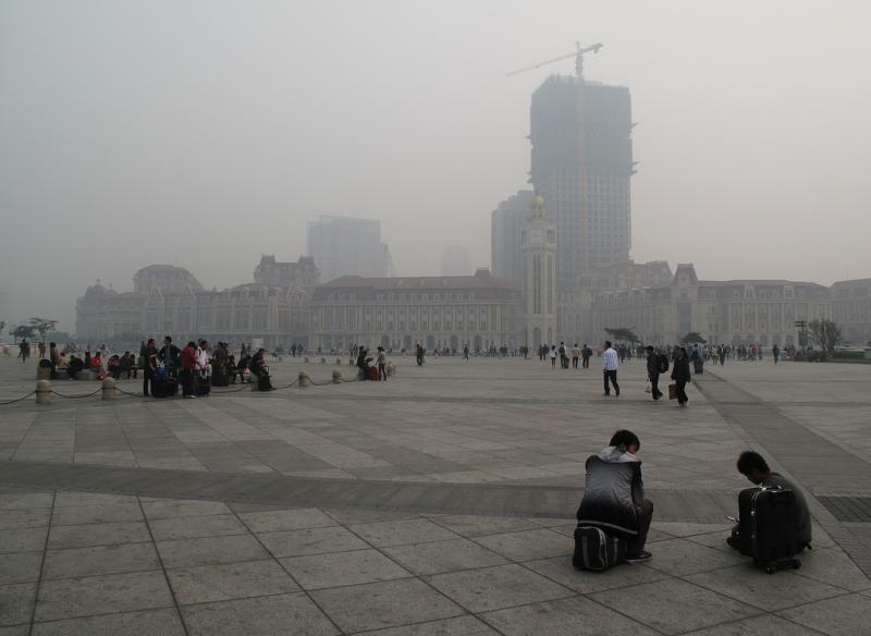 Downtown Tianjin, China.