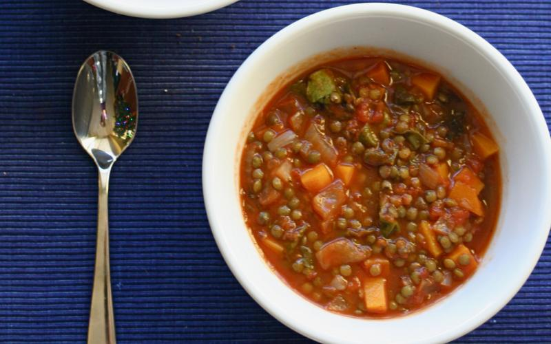 Nutritionist Mary Purdy suggests lentil soup as a way to get needed protein and carbs after a workout.