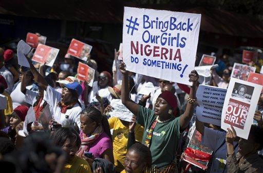 South Africans protest in solidarity against the abduction three weeks ago of hundreds of schoolgirls in Nigeria by the Muslim extremist group Boko Haram.