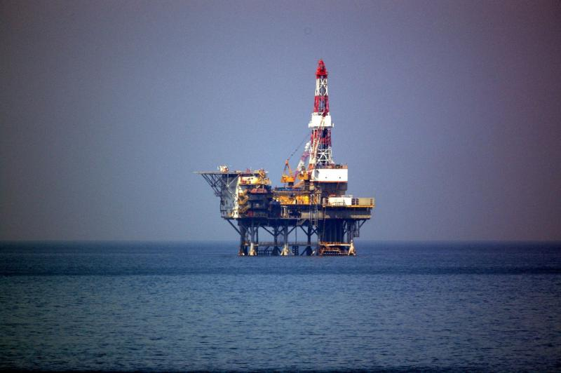 An off-shore oil rig.