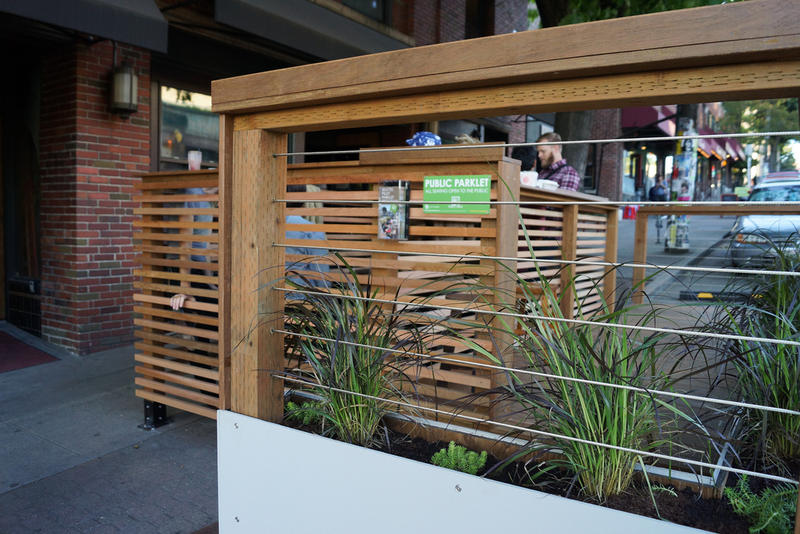 The finished Capitol Hill parklet on Olive Way in Seattle.
